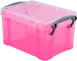 Opbergdoos 1,6 liter roze gekleurde transparante Really Useful Box
