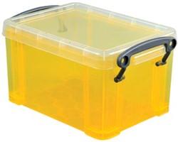 Opbergdoos 1,6 liter geel gekleurde transparante Really Useful Box