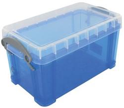 Opbergdoos 2,1 liter blauw gekleurde transparante Really Useful Box