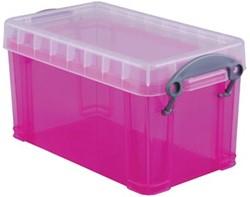 Opbergdoos 2,1 liter hel roze gekleurde transparante Really Useful Box
