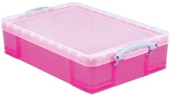 Really Useful Box 24,5 liter, transparant roze