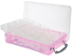 Really Useful Box gekleurde transparante opbergd roze