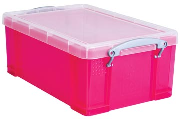 Opbergbox 9 liter hel roze gekleurde transparante Really Useful Box