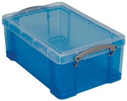 Opbergbox 9 liter blauw gekleurde transparante Really Useful Box