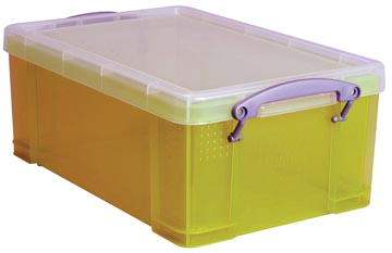 Opbergbox 9 liter geel gekleurde transparante Really Useful Box