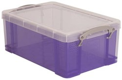 Opbergbox 9 liter paars gekleurde transparante Really Useful Box