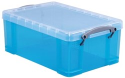 Opbergbox 9 liter hel blauw gekleurde transparante Really Useful Box