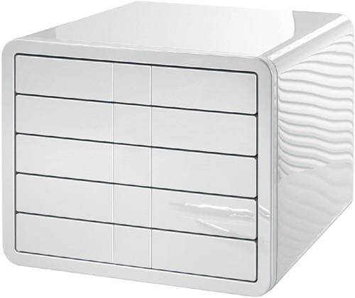 Ladekast Han i-Box met 5 gesloten laden glanzend wit
