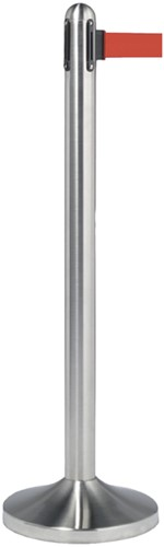 Afzetpaal Securit RVS met rolband 210cm rood