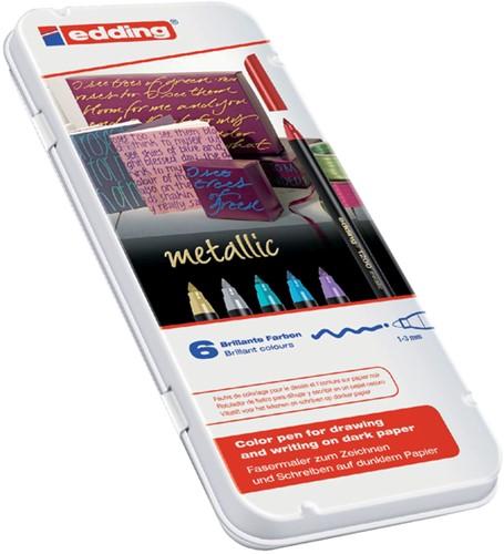 Edding viltstift e-1200 6 stiften in geassorteerde metallic kleuren in een metalen doos