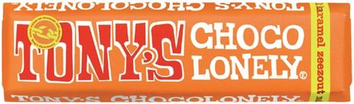 Tony's chocolonely chocolade reep van 47 gram melk karamel zeezout