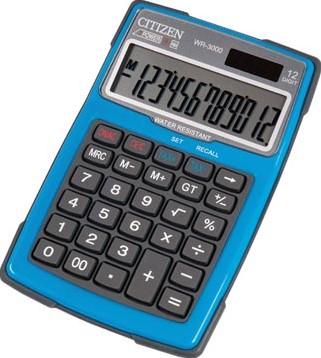 Citizen robuuste rekenmachine WR3000, water- en stofbestendig blauw