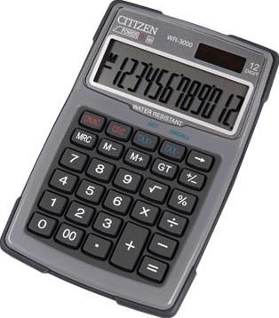 Citizen robuuste rekenmachine WR3000, water- en stofbestendig grijs