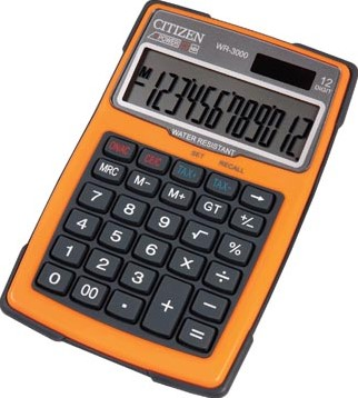 Citizen robuuste rekenmachine WR3000, water- en stofbestendig oranje