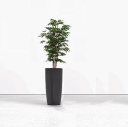 Kunst bamboe hoog met plantenbak rond 70cm
