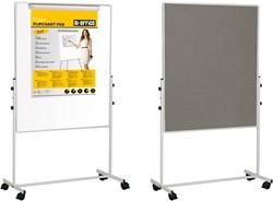 Combi whiteboard / prikbord op verrijdbare standaard 120x70 cm