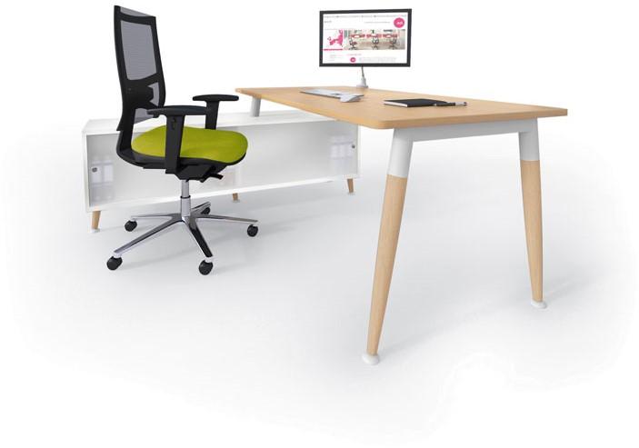 Bureau met kast wood met massief houten poot links wit rood