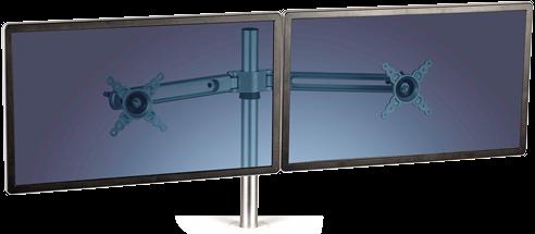 Fellowes monitor arm voor 2 schermen voor een zit-sta bureau