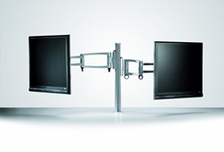 Monitorarm met 2 schermen