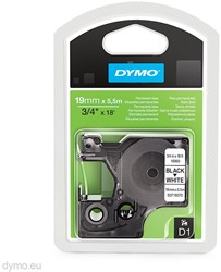 Dymo D1 tape 16960 19mm zwart op wit permanent