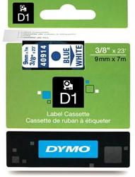 Dymo D1 tape 40914 9mm blauw op wit