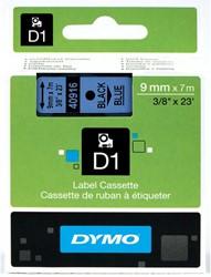 Dymo D1 tape 40916 9mm zwart op blauw