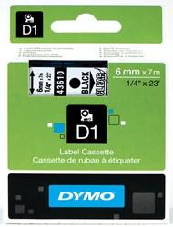 Dymo D1 tape 43610 6mm zwart op transparant