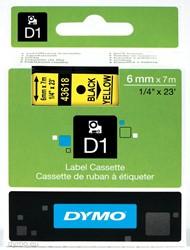 Dymo D1 tape 43618 6mm zwart op geel