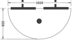 Halfrond aanbouwblad 160x80cm