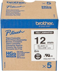 HGE631V5 Brother zwart op gele tape 12mm High Grade