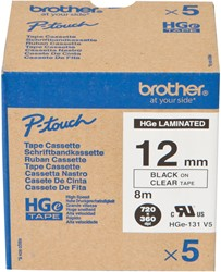 HGE131V5 Brother zwart op transparante tape 12mm High Grade