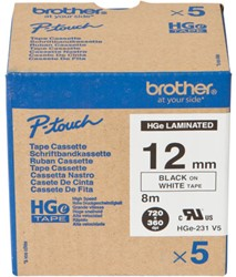 HGE231V5 Brother zwart op witte tape 12mm High Grade