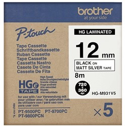 HGEM931V5 Brother zwart op mat zilveren tape 12mm High Grade