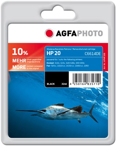 HP 20 compatible cartridge AgfaPhoto C6614DE zwart + 10% extra