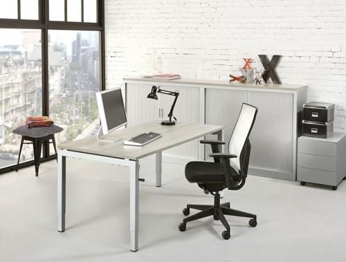 Hoogte verstelbaar bureau 160x80cm proline quad4 wit logan eiken