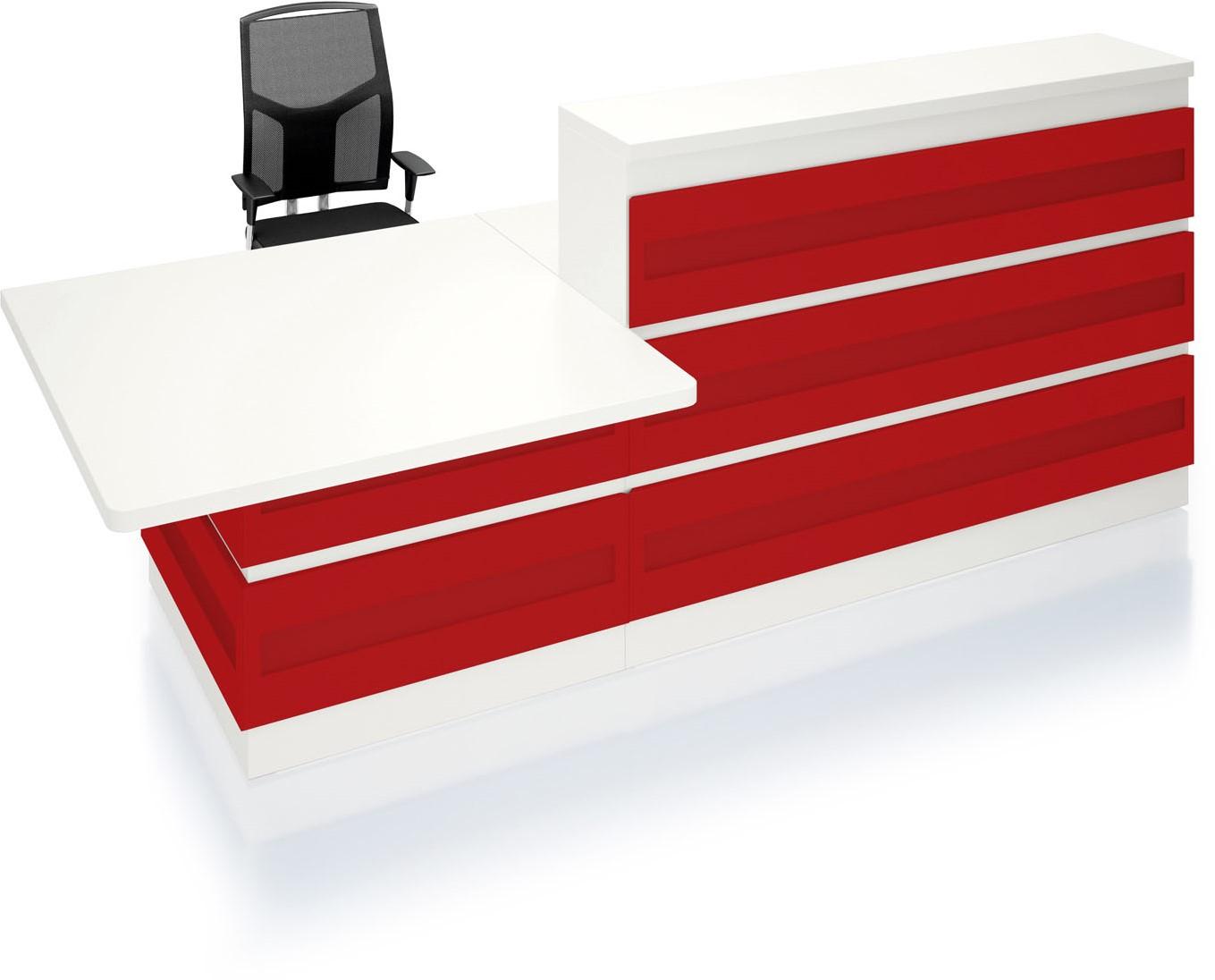 Kantoor balie Welcome met gekleurde metalen panelen bij Pro Office