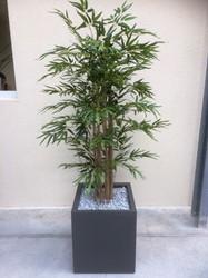 Kunst bamboe hoog met plantenbak vierkant