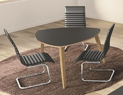 Driehoekige vergadertafel Organik 120 x 120 cm