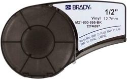 Vinyltape Brady 12,7mm wit op zwart