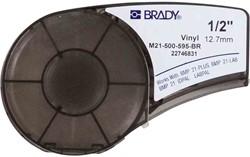 Vinyltape Brady 12,7mm wit op bruin