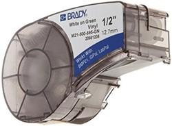 Vinyltape Brady 12,7mm wit op groen