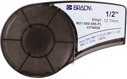 Vinyltape Brady 12,7mm wit op paars