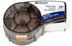 Vinyltape Brady 19mm wit op Blauw