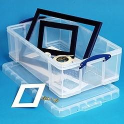 Opbergbox 50 liter Really Useful Box transparant met afsluitbaar deksel 710 x 440 x 230