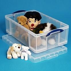 Opbergbox 50 liter Really Useful Box transparant met afsluitbaar deksel 710 x 440 x 230 per 5 boxen