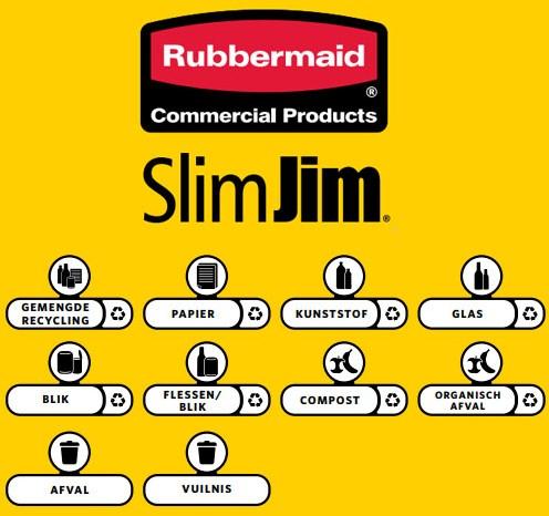 Rubbermaid Slim Jim Recycling Station label kit Nederlands