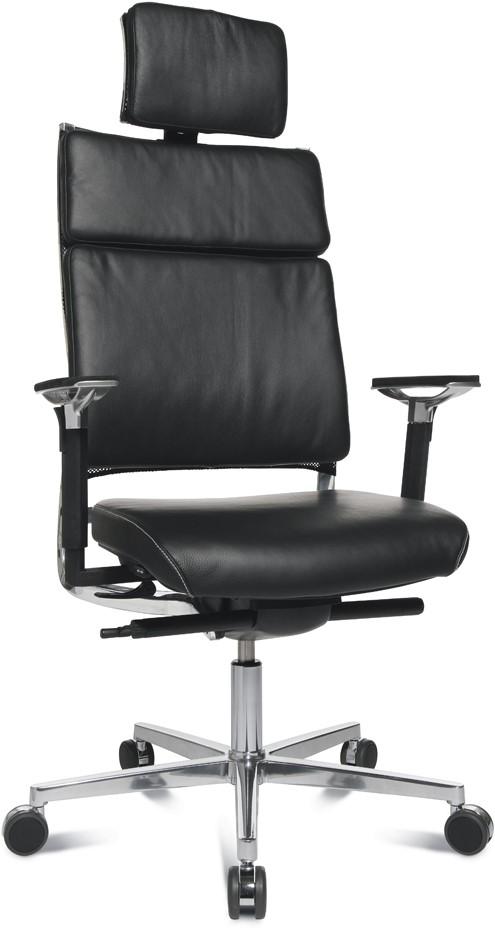 Bureaustoel Met Hoofdsteun.Leren Bureaustoel New Aluart Classic Zonder Hoofdsteun Zwart A80 Echt Leer