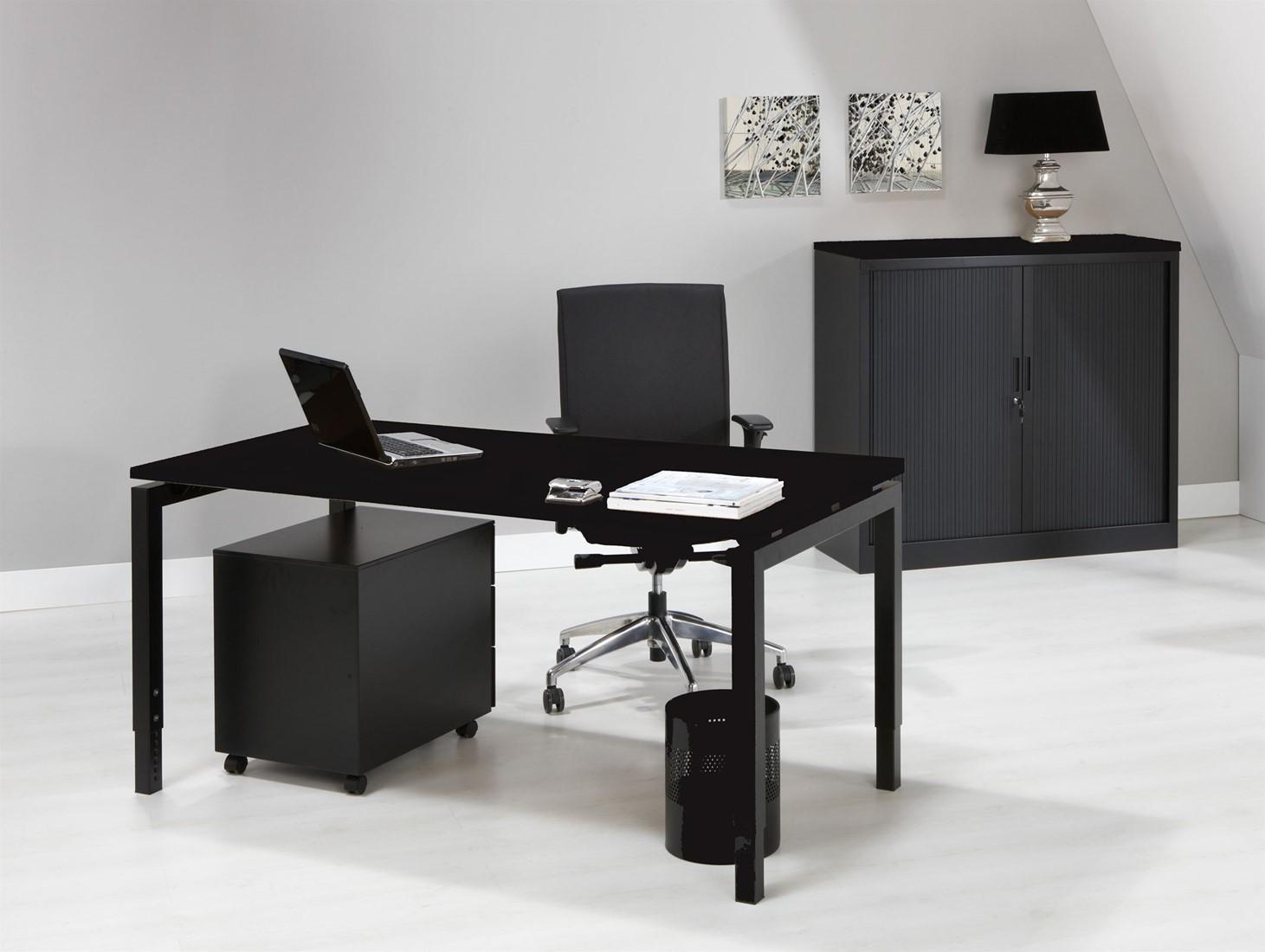 bureau zwart proline quad4 bij pro office. Black Bedroom Furniture Sets. Home Design Ideas